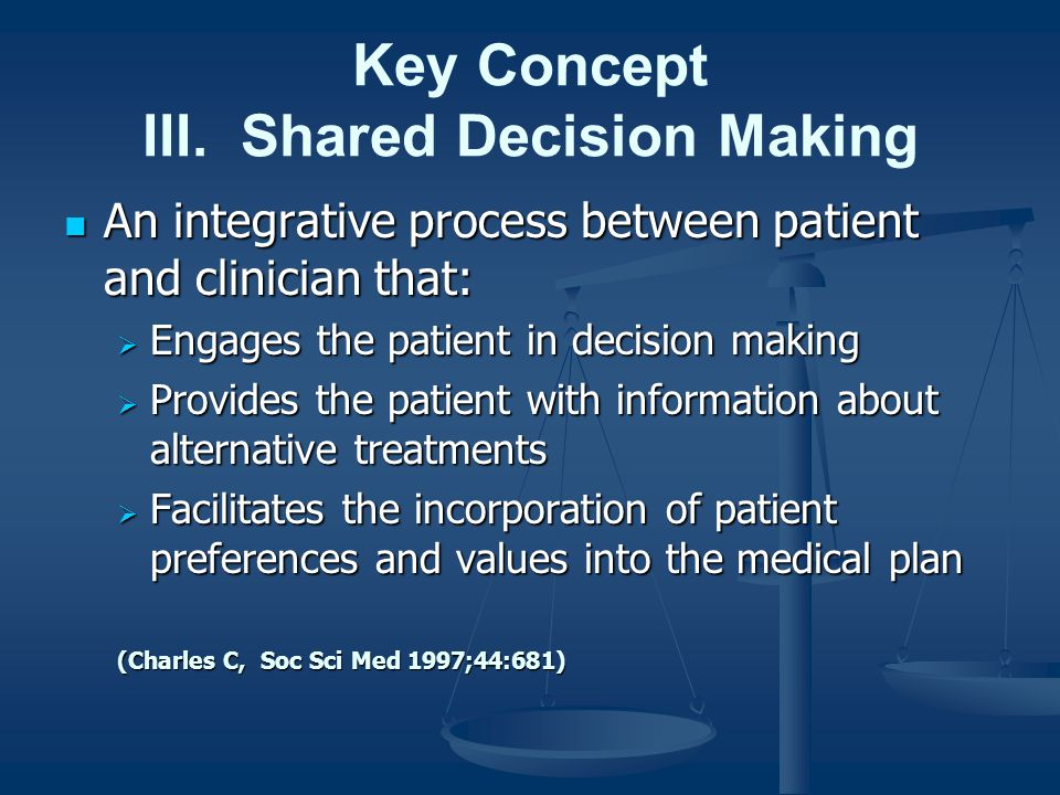Key Concept III. Shared Decision Making An integrative process between patient and clinician that: An integrative process between patient and clinicia