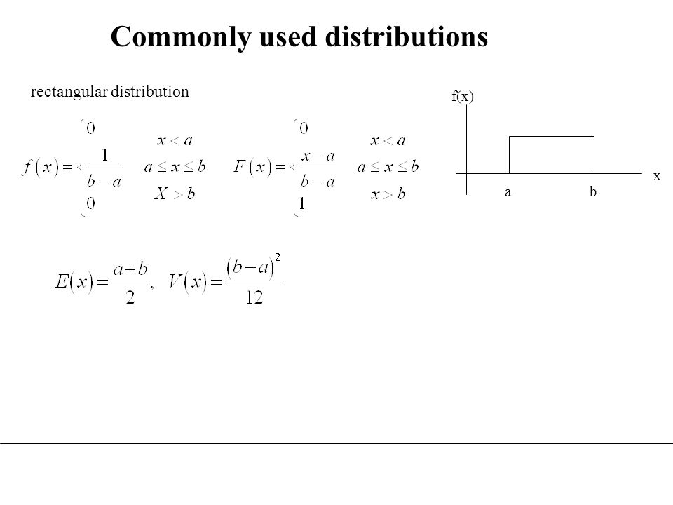 Commonly used distributions ab f(x) x rectangular distribution