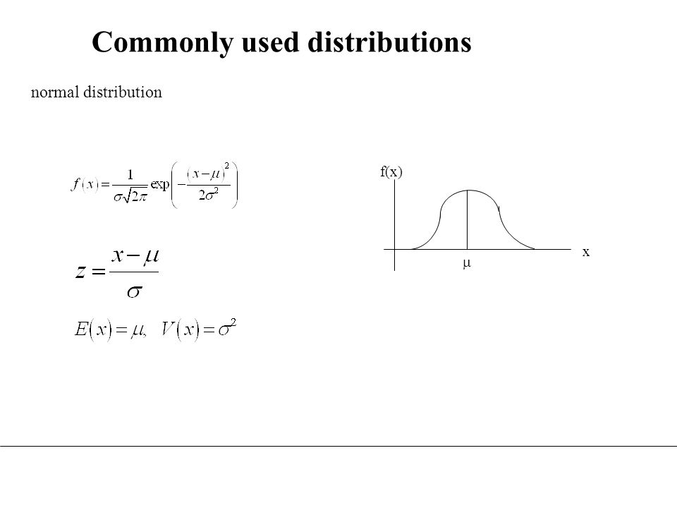 Commonly used distributions f(x) x normal distribution 