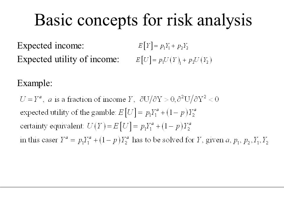 Basic concepts for risk analysis Expected income: Expected utility of income: Example: