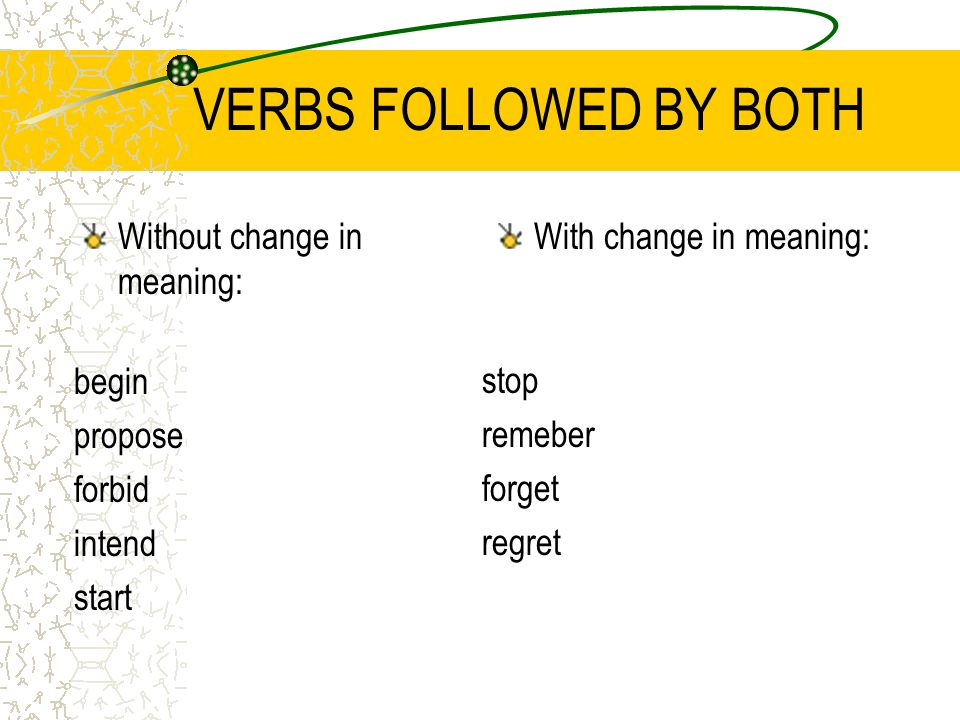 VERBS FOLLOWED BY BOTH Without change in meaning: With change in meaning: begin propose forbid intend start stop remeber forget regret