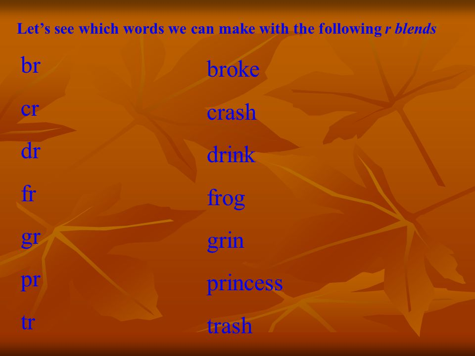 Let's see which words we can make with the following r blends br cr dr fr gr pr tr broke crash drink frog grin princess trash