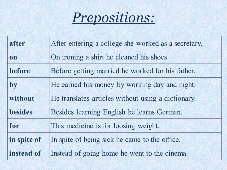 Prepositions: afterAfter entering a college she worked as a secretary.