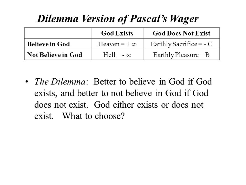 The Dilemma: Better to believe in God if God exists, and better to not believe in God if God does not exist.