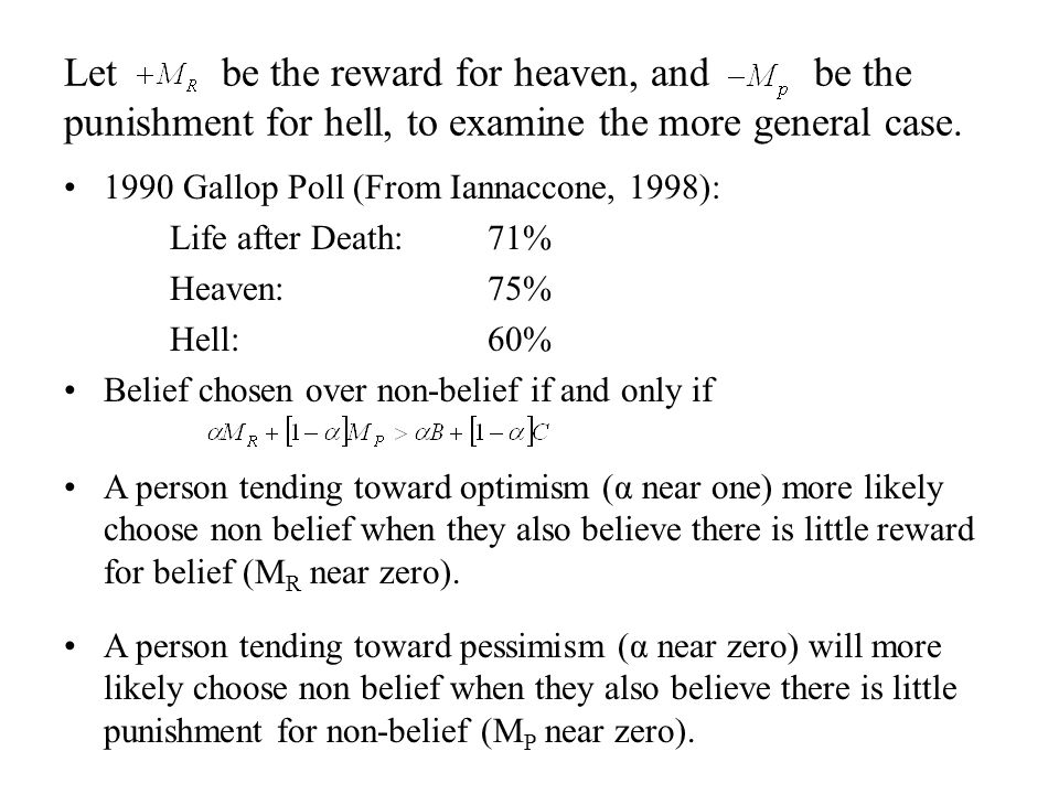 1990 Gallop Poll (From Iannaccone, 1998): Life after Death: 71% Heaven:75% Hell:60% Belief chosen over non-belief if and only if Let be the reward for