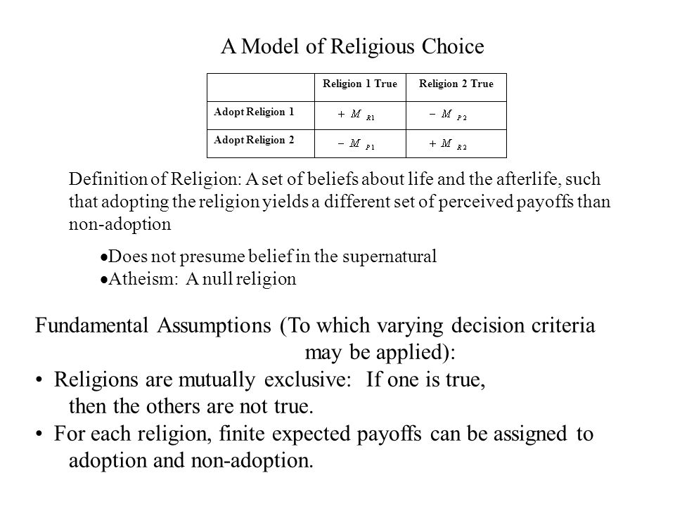 Adopt Religion 2 Adopt Religion 1 Religion 2 TrueReligion 1 True A Model of Religious Choice  Does not presume belief in the supernatural  Atheism: A null religion Definition of Religion: A set of beliefs about life and the afterlife, such that adopting the religion yields a different set of perceived payoffs than non-adoption Fundamental Assumptions (To which varying decision criteria may be applied): Religions are mutually exclusive: If one is true, then the others are not true.