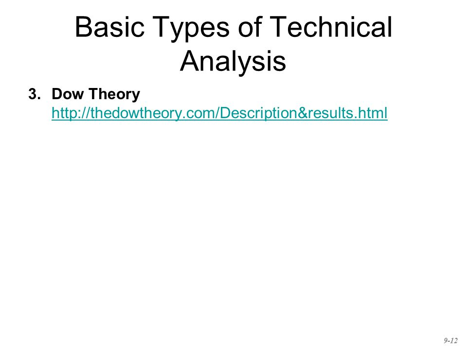 Basic Types of Technical Analysis 3.Dow Theory http://thedowtheory.com/Description&results.html http://thedowtheory.com/Description&results.html 9-12