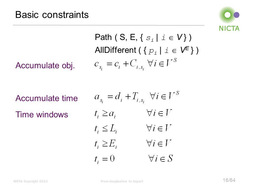 NICTA Copyright 2013From imagination to impact 16/64 Basic constraints Path ( S, E, { s i | i  V } ) AllDifferent ( { p i | i  V E } ) Accumulate ob