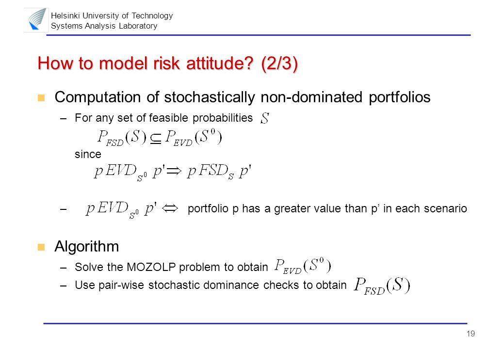 Helsinki University of Technology Systems Analysis Laboratory 19 How to model risk attitude? (2/3) n Computation of stochastically non-dominated portf