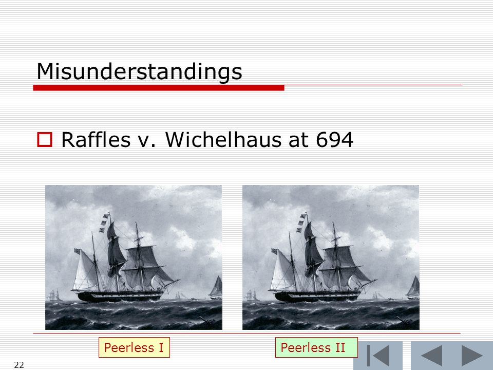 Misunderstandings  Raffles v. Wichelhaus at 694 22 Peerless IPeerless II