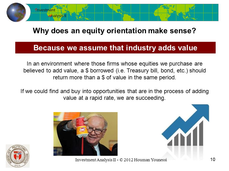 I nvestment A nalysis II 10 Investment Analysis II - © 2012 Houman Younessi Why does an equity orientation make sense.