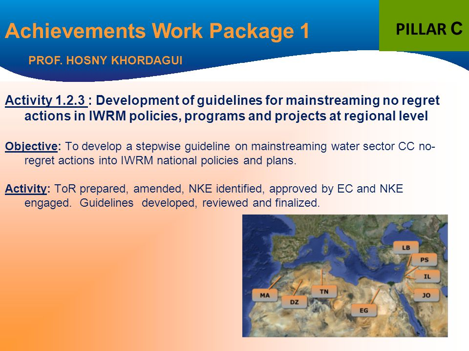 Activity 1.2.3 : Development of guidelines for mainstreaming no regret actions in IWRM policies, programs and projects at regional level Objective: To develop a stepwise guideline on mainstreaming water sector CC no- regret actions into IWRM national policies and plans.