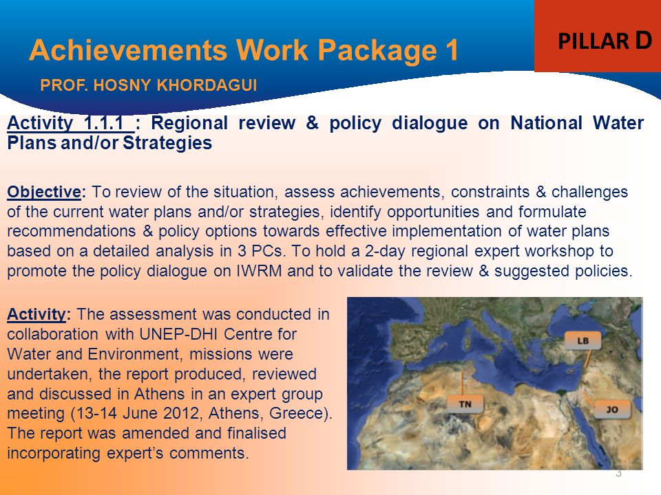 3 Achievements Work Package 1 Activity 1.1.1 : Regional review & policy dialogue on National Water Plans and/or Strategies Objective: To review of the situation, assess achievements, constraints & challenges of the current water plans and/or strategies, identify opportunities and formulate recommendations & policy options towards effective implementation of water plans based on a detailed analysis in 3 PCs.