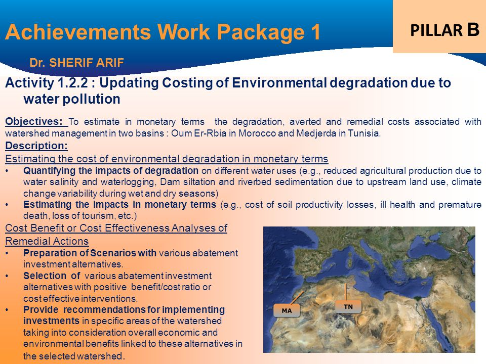 Activity 1.2.2 : Updating Costing of Environmental degradation due to water pollution Objectives: To estimate in monetary terms the degradation, averted and remedial costs associated with watershed management in two basins : Oum Er-Rbia in Morocco and Medjerda in Tunisia.