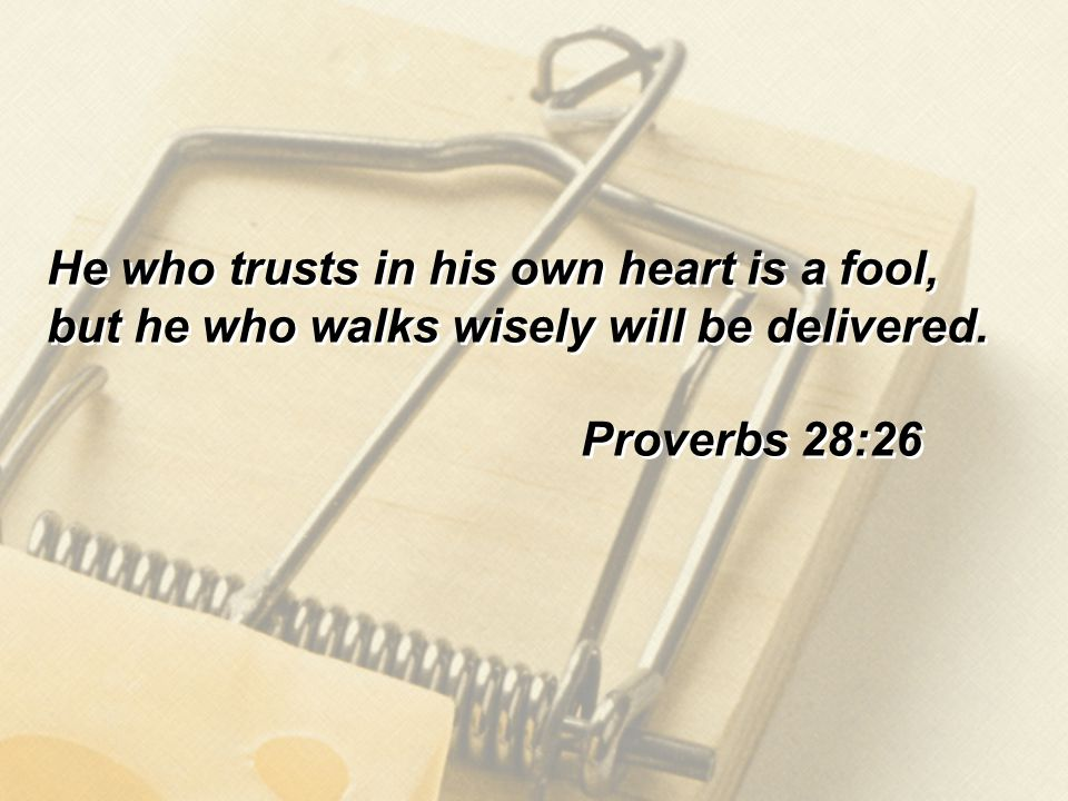 He who trusts in his own heart is a fool, but he who walks wisely will be delivered.