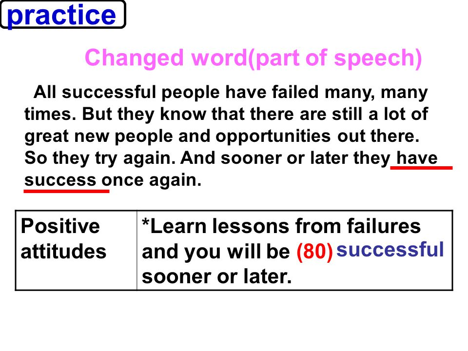 practice Positive attitudes *Learn lessons from failures and you will be (80) sooner or later.
