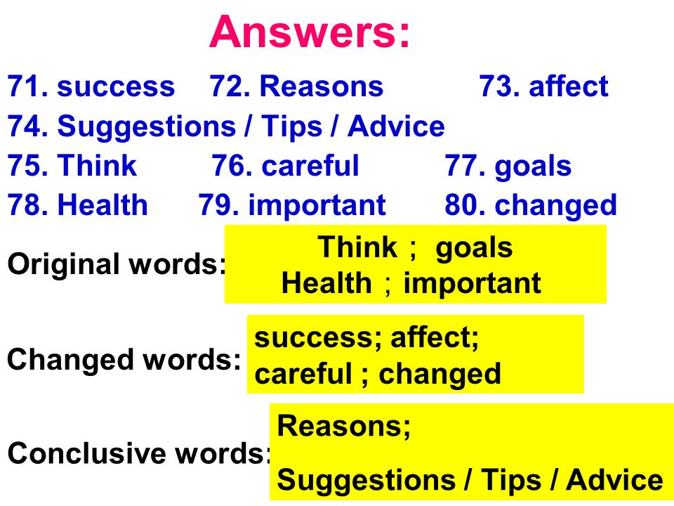 71. success72. Reasons 73. affect 74. Suggestions / Tips / Advice 75.