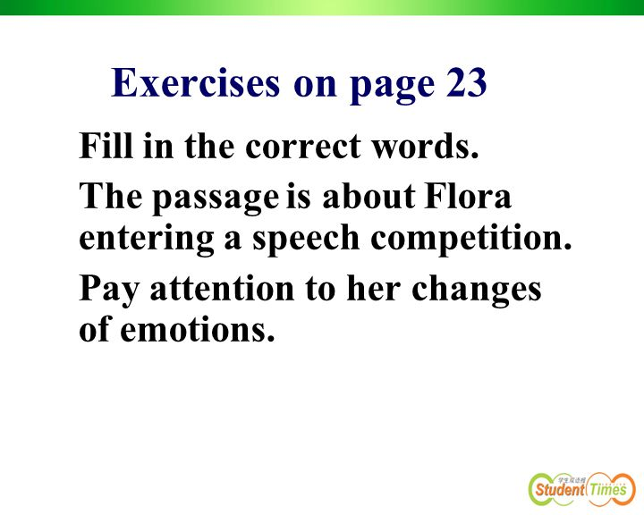 Exercises on page 23 Fill in the correct words.