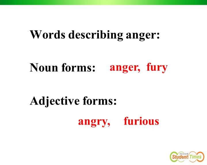 Words describing anger: Noun forms: Adjective forms: anger, fury angry,furious