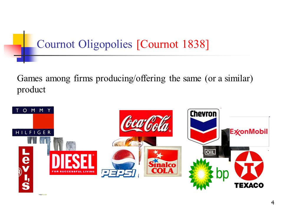 4 Cournot Oligopolies [Cournot 1838] Games among firms producing/offering the same (or a similar) product