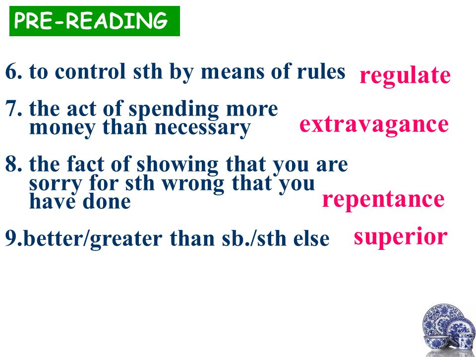 regulate PRE-READING 6.