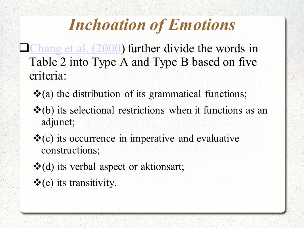 Inchoation of Emotions  Chang et al. (2000) further divide the words in Table 2 into Type A and Type B based on five criteria: Chang et al. (2000  (