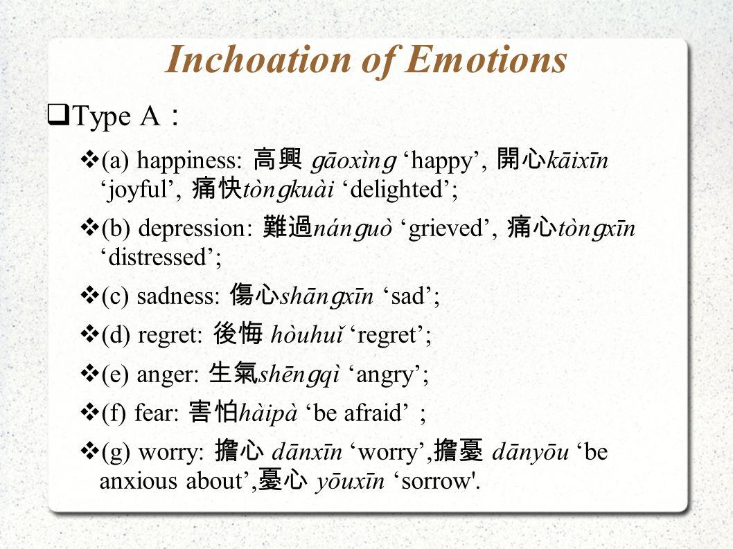 Inchoation of Emotions  Type A :  (a) happiness: 高興 ɡ āoxìn ɡ 'happy', 開心 kāixīn 'joyful', 痛快 tòn ɡ kuài 'delighted';  (b) depression: 難過 nán ɡ uò 'grieved', 痛心 tòn ɡ xīn 'distressed';  (c) sadness: 傷心 shān ɡ xīn 'sad';  (d) regret: 後悔 hòuhuǐ 'regret';  (e) anger: 生氣 shēn ɡ qì 'angry';  (f) fear: 害怕 hàipà 'be afraid' ;  (g) worry: 擔心 dānxīn 'worry', 擔憂 dānyōu 'be anxious about', 憂心 yōuxīn 'sorrow .