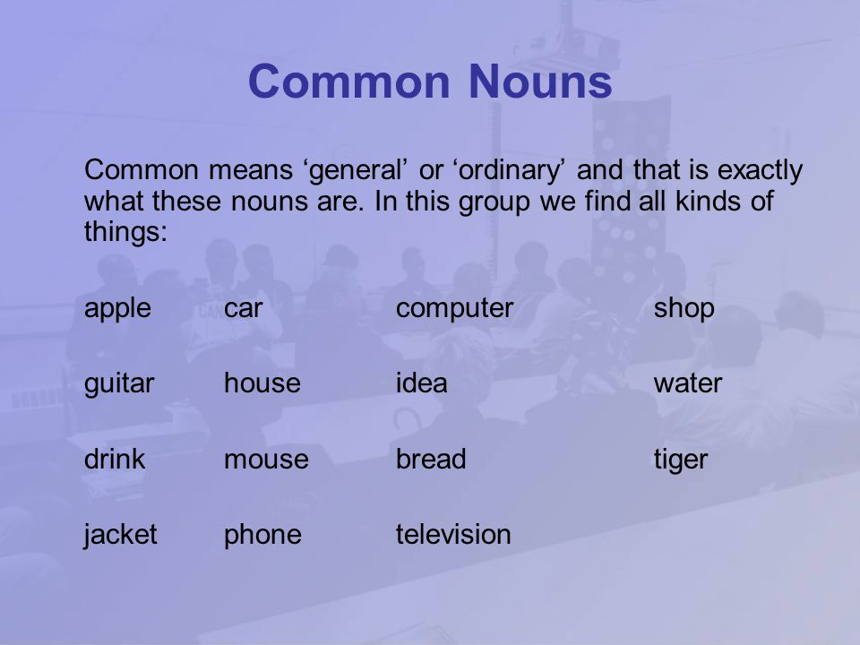 The largest word class, nouns are 'naming' words. There are six main groups of noun; common, proper, countable, uncountable, concrete and abstract. Th