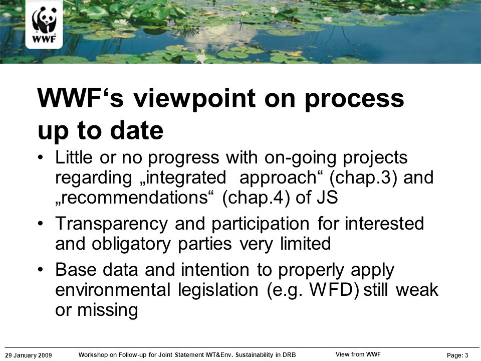 29 January 2009 Workshop on Follow-up for Joint Statement IWT&Env. Sustainability in DRB Page: 3 View from WWF WWF's viewpoint on process up to date L