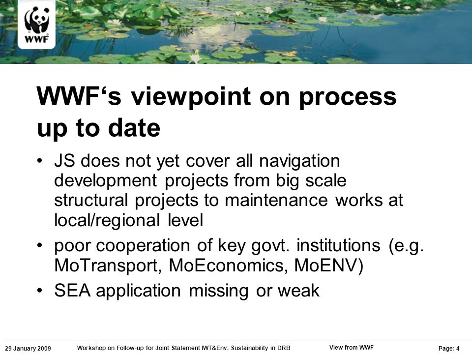 29 January 2009 Workshop on Follow-up for Joint Statement IWT&Env. Sustainability in DRB Page: 4 View from WWF WWF's viewpoint on process up to date J
