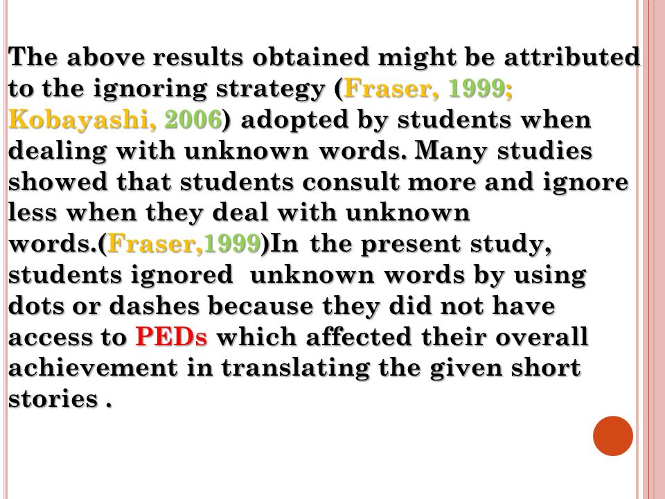 The above results obtained might be attributed to the ignoring strategy (Fraser, 1999; Kobayashi, 2006) adopted by students when dealing with unknown words.