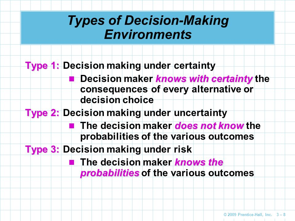© 2009 Prentice-Hall, Inc. 3 – 8 Types of Decision-Making Environments Type 1: Type 1:Decision making under certainty knows with certainty Decision ma