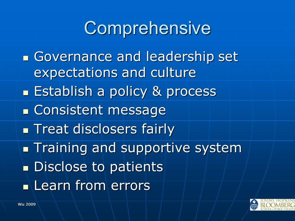 Comprehensive Governance and leadership set expectations and culture Governance and leadership set expectations and culture Establish a policy & proce