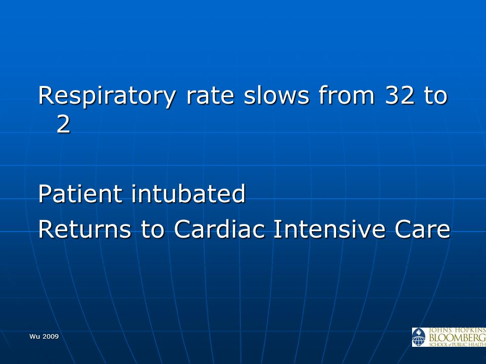 Wu 2009 Respiratory rate slows from 32 to 2 Patient intubated Returns to Cardiac Intensive Care