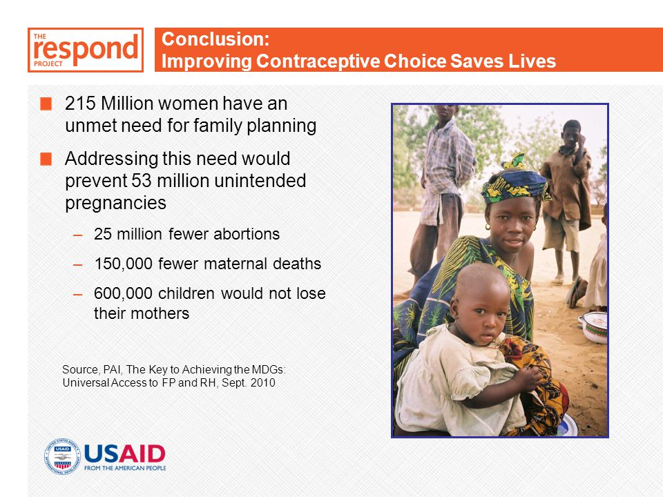 Conclusion: Improving Contraceptive Choice Saves Lives 215 Million women have an unmet need for family planning Addressing this need would prevent 53 million unintended pregnancies –25 million fewer abortions –150,000 fewer maternal deaths –600,000 children would not lose their mothers Source, PAI, The Key to Achieving the MDGs: Universal Access to FP and RH, Sept.