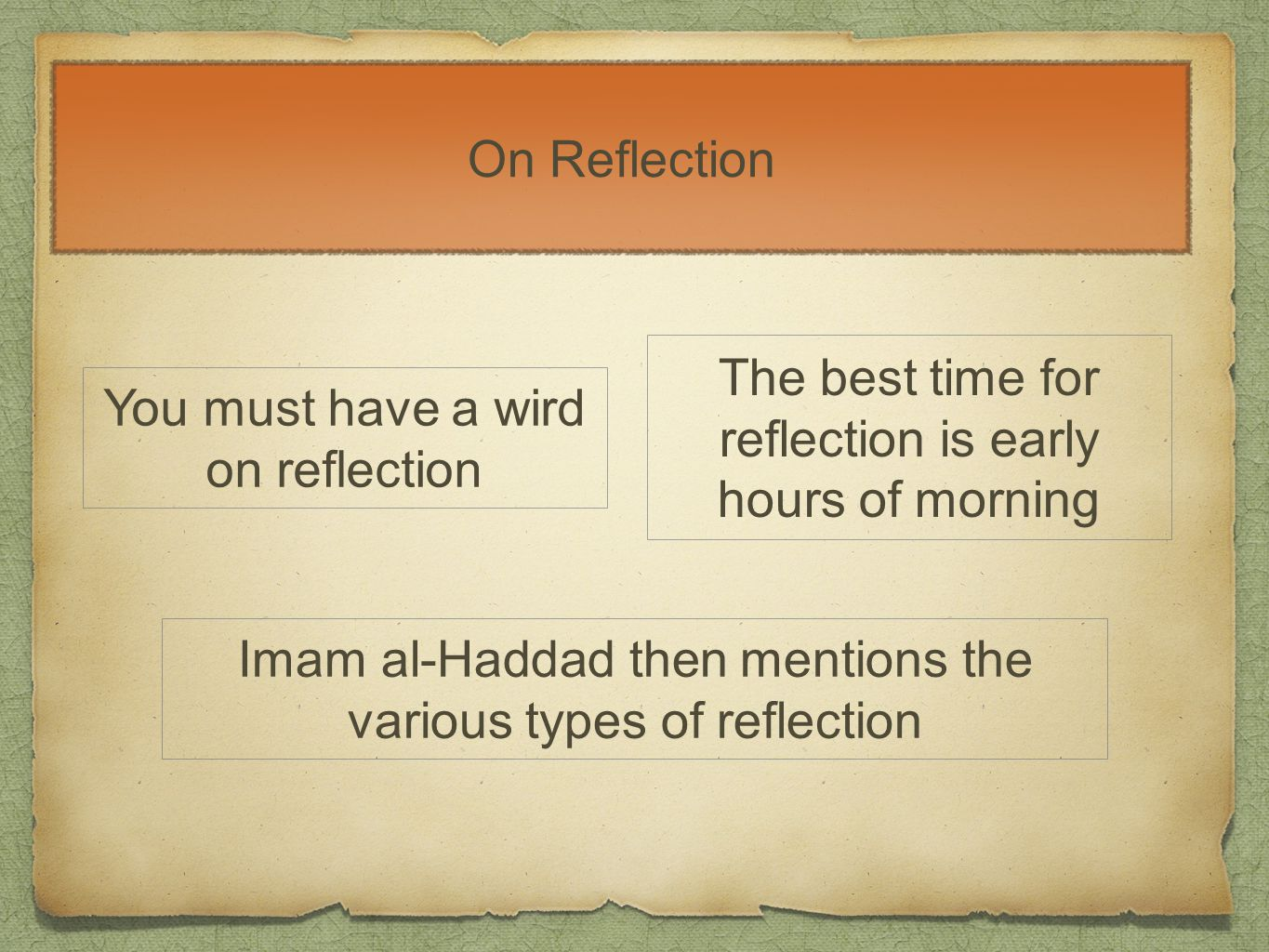 On Reflection You must have a wird on reflection The best time for reflection is early hours of morning Imam al-Haddad then mentions the various types of reflection