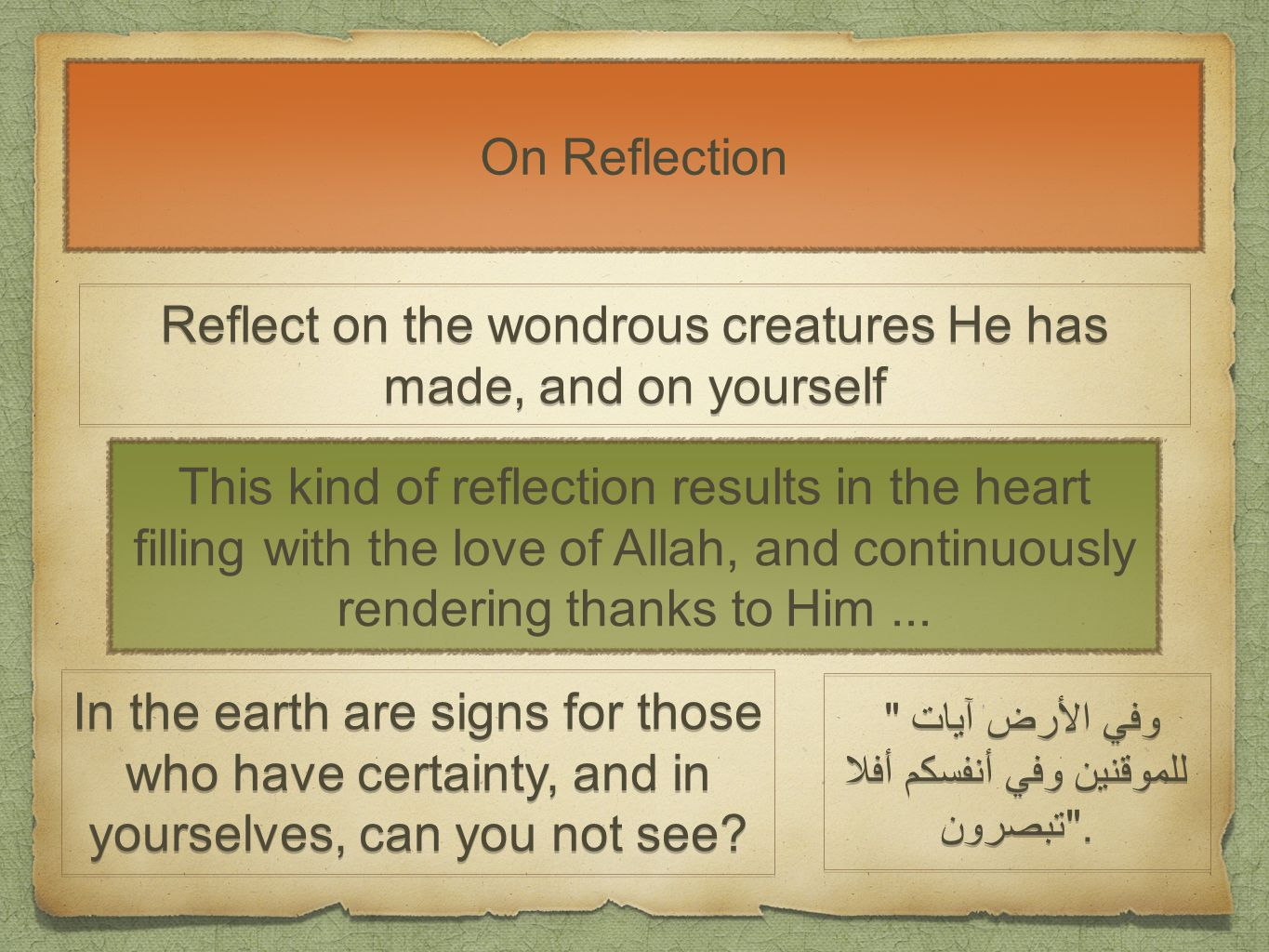 On Reflection Reflect on the wondrous creatures He has made, and on yourself This kind of reflection results in the heart filling with the love of Allah, and continuously rendering thanks to Him...