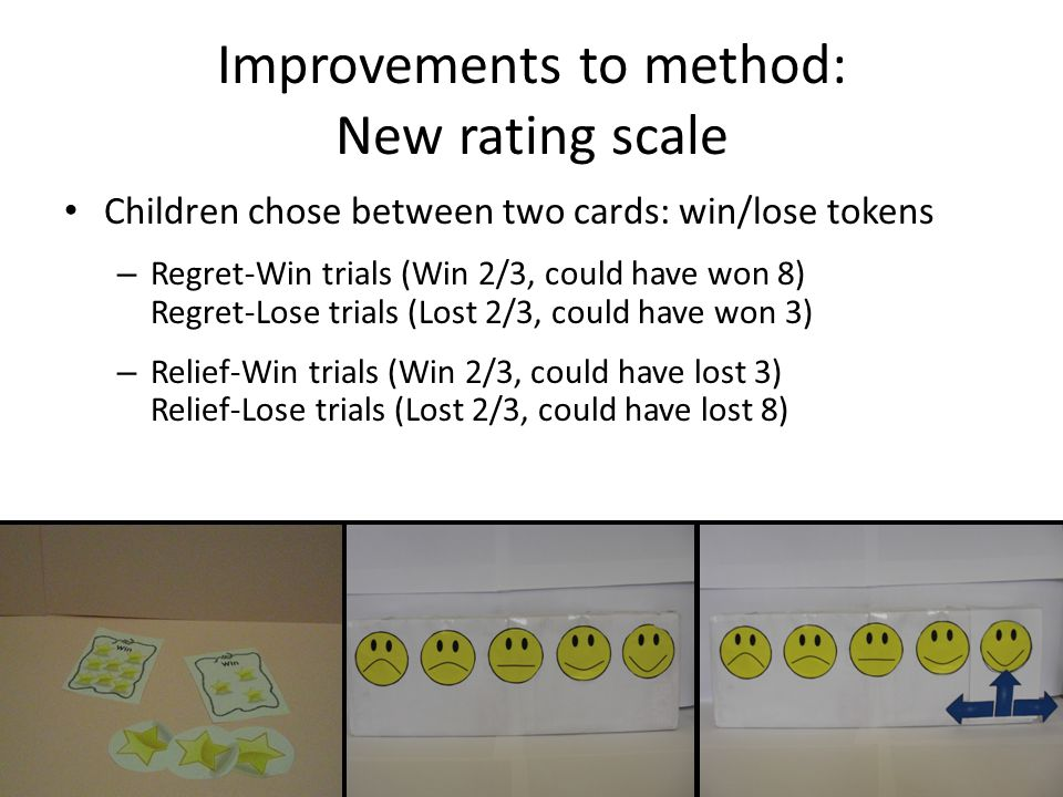 Improvements to method: New rating scale Children chose between two cards: win/lose tokens – Regret-Win trials (Win 2/3, could have won 8) Regret-Lose trials (Lost 2/3, could have won 3) – Relief-Win trials (Win 2/3, could have lost 3) Relief-Lose trials (Lost 2/3, could have lost 8)