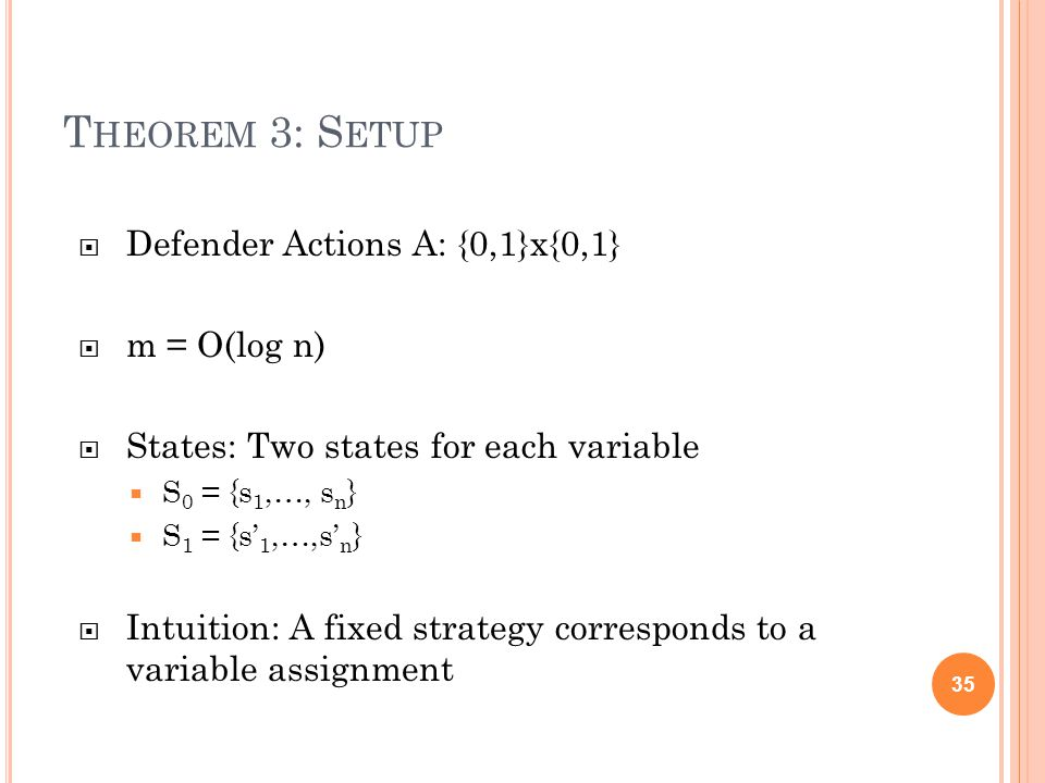 T HEOREM 3: S ETUP  Defender Actions A: {0,1}x{0,1}  m = O(log n)  States: Two states for each variable  S 0 = {s 1,…, s n }  S 1 = {s' 1,…,s' n }  Intuition: A fixed strategy corresponds to a variable assignment 35