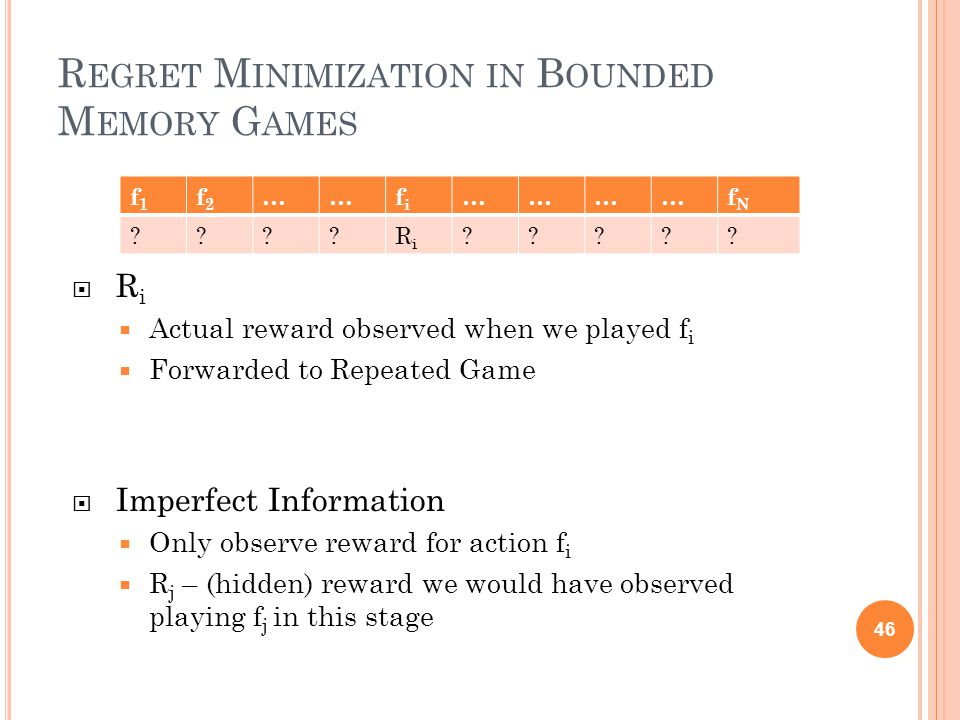 R EGRET M INIMIZATION IN B OUNDED M EMORY G AMES RiRi  Actual reward observed when we played f i  Forwarded to Repeated Game  Imperfect Information  Only observe reward for action f i  R j – (hidden) reward we would have observed playing f j in this stage 46 f1f1 f2f2 ……fifi …………fNfN RiRi