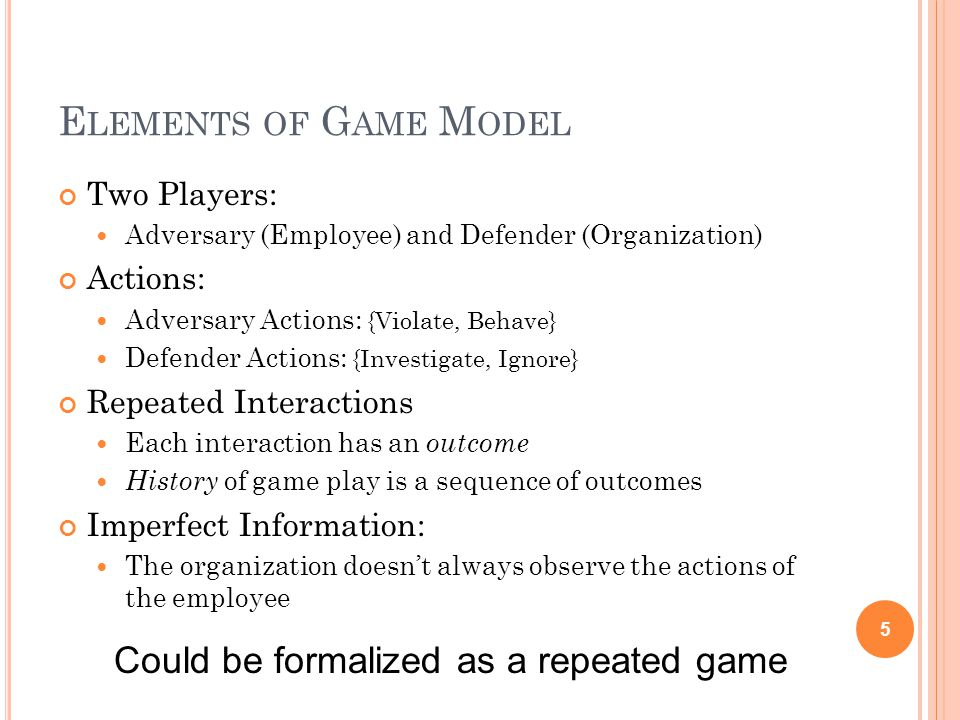 E LEMENTS OF G AME M ODEL Two Players: Adversary (Employee) and Defender (Organization) Actions: Adversary Actions: {Violate, Behave} Defender Actions: {Investigate, Ignore} Repeated Interactions Each interaction has an outcome History of game play is a sequence of outcomes Imperfect Information: The organization doesn't always observe the actions of the employee 5 Could be formalized as a repeated game