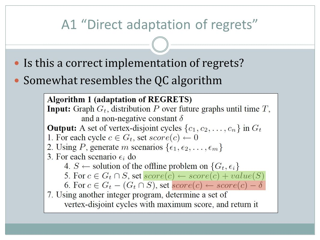 A1 Direct adaptation of regrets Is this a correct implementation of regrets.