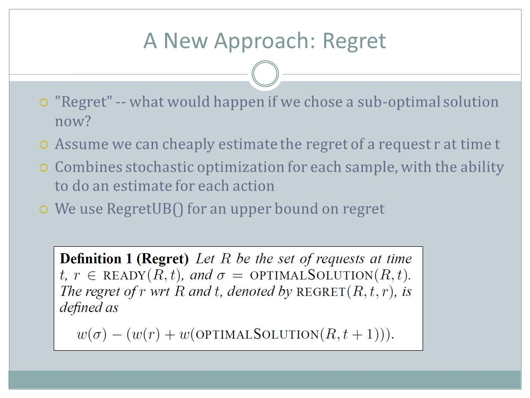 A New Approach: Regret  Regret -- what would happen if we chose a sub-optimal solution now.