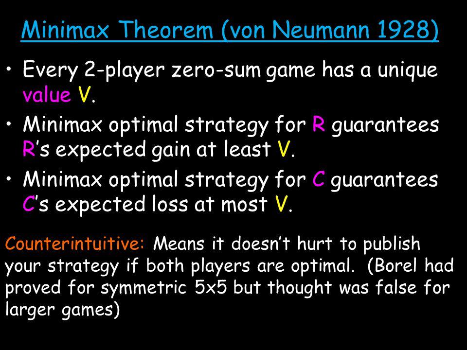 Minimax Theorem (von Neumann 1928) Every 2-player zero-sum game has a unique value V.