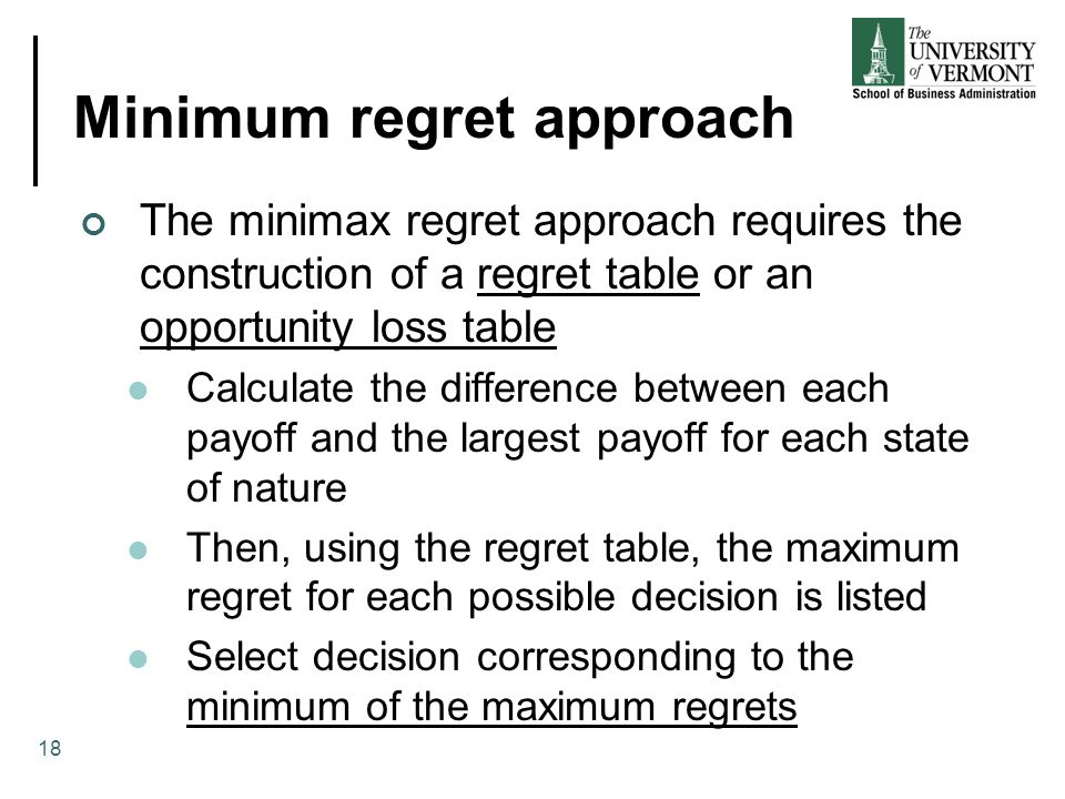 Minimum regret approach The minimax regret approach requires the construction of a regret table or an opportunity loss table Calculate the difference