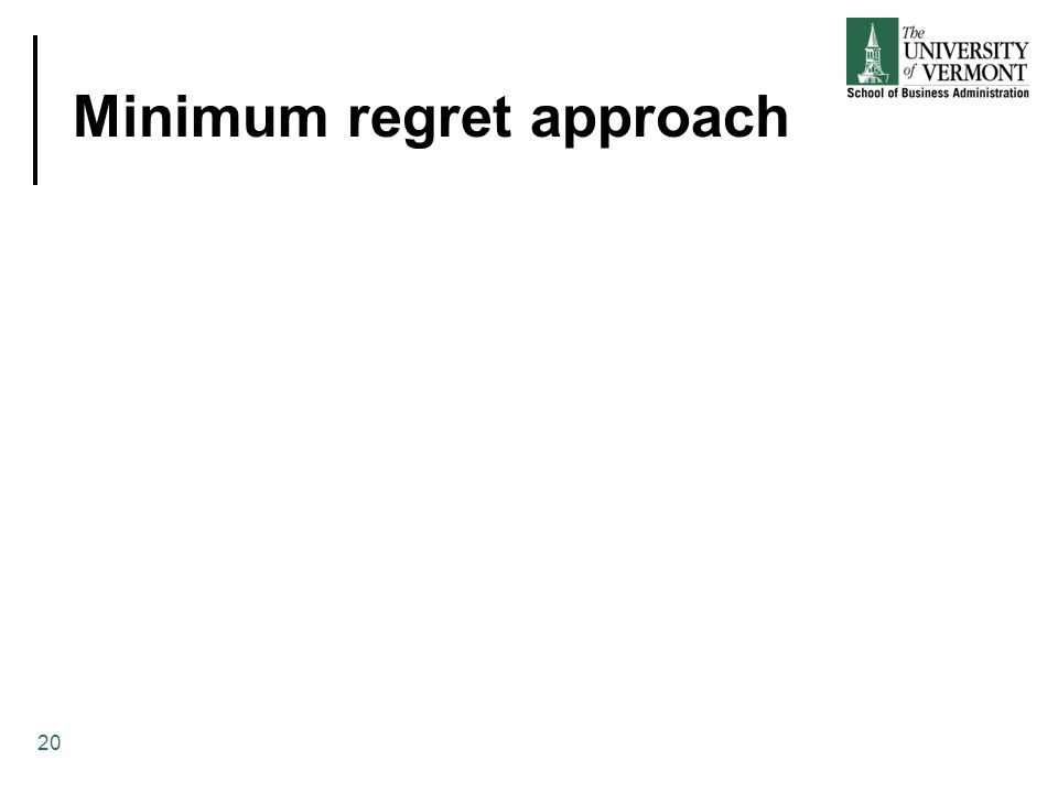 Minimum regret approach 20