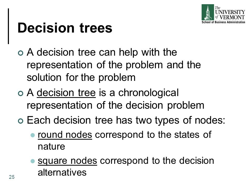 Decision trees A decision tree can help with the representation of the problem and the solution for the problem A decision tree is a chronological representation of the decision problem Each decision tree has two types of nodes: round nodes correspond to the states of nature square nodes correspond to the decision alternatives 25