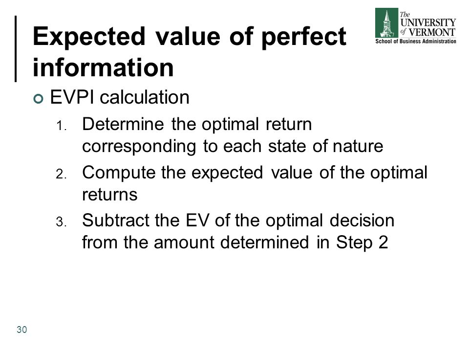 Expected value of perfect information EVPI calculation 1. Determine the optimal return corresponding to each state of nature 2. Compute the expected v