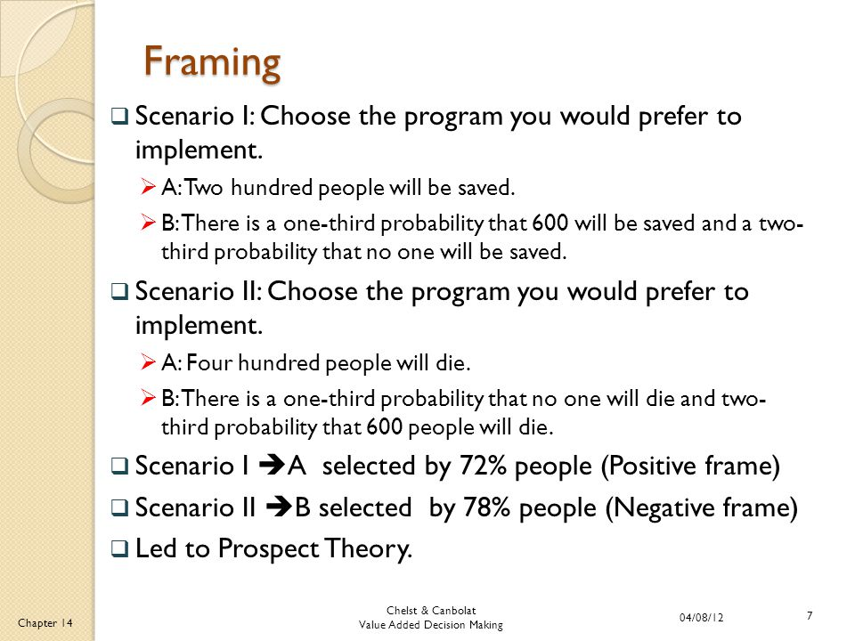 Chelst & Canbolat Value Added Decision Making 04/08/12 7 Chapter 14 Framing  Scenario I: Choose the program you would prefer to implement.