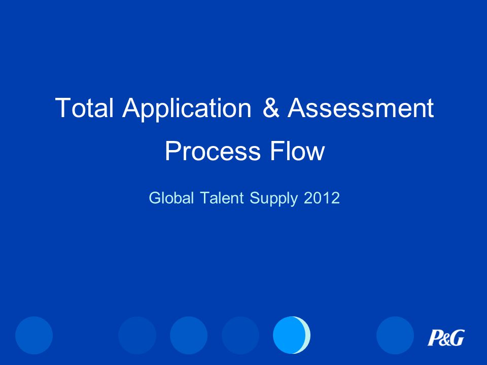Total Application & Assessment Process Flow Global Talent Supply 2012